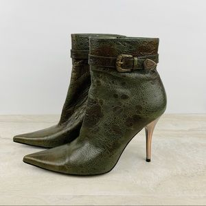 Bronx Pointed Toe Leather Ankle Boots